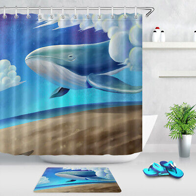 Whale and Coast Chalet Shower Curtain Bathroom Decor Fabric /& 12hook 71X71IN