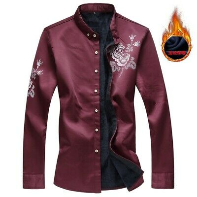 Men's Floral Slim Fit Fleece Lined Shirt Stand Collar Button Front Thicken Tops