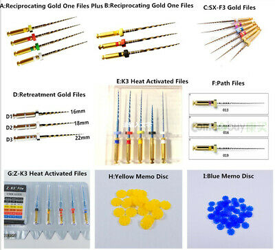 Dental Endodontic Niti Rotary Files Reciprocating Gold File 21/25mm Endo Motor