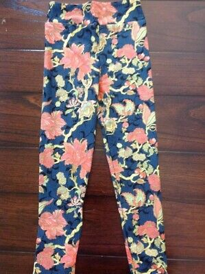 LuLaRoe kids S/M Blue with Pink Flowers New leggings 2-8 NWT Small Medium