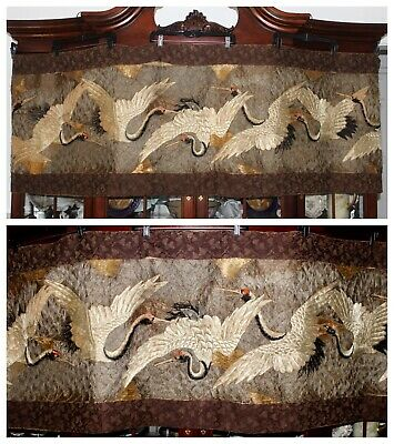 "c'18th Qing Chinese Padded Embroidered 7 Flying Cranes Banner Panel Textile 94""L"