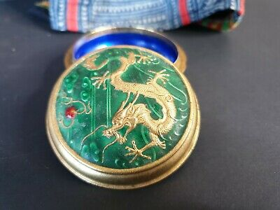 Old Chinese Green & Gold Cloisonné Enamel Vanity Box …beautiful collection