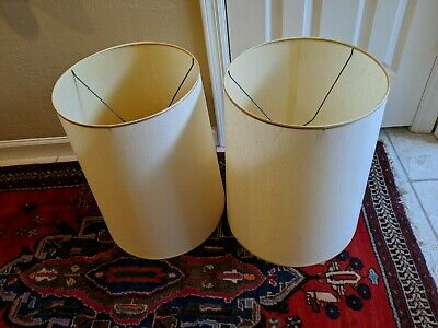 Pair Of Vintage MCM Retro Large Drum Table Lamp Shades