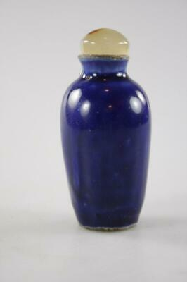 Antique Chinese  Ceramic Blue Glaze Snuff Bottle With Agate Stopper