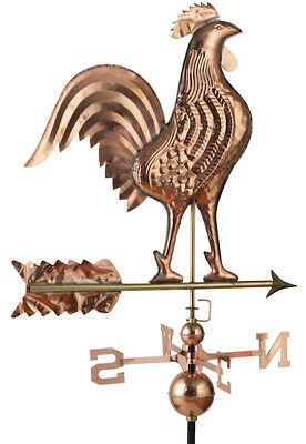 BARGAIN LARGE Weather Vane Polished Copper Rooster Wall Chimney Mounting Bracket