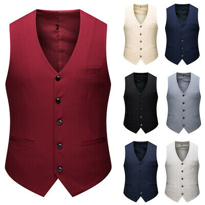 Men' s Breasted Classic Waistcoat Casual Formal Business Suit Vest Jacket M-4XL