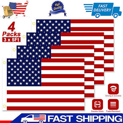 4PACK 3x5 Ft American Flag U.S.A U.S. United States Stripes Stars Brass Grommets