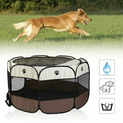 Foldable Pet Dog Cat Play Tent Playpen Exercise Cage Fence Mesh Cover Outdoor