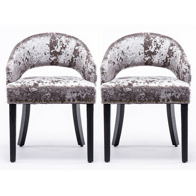 Silver Crushed Velvet Grey Dining Chairs Padded Seat Wooden Legs Home Restaurant