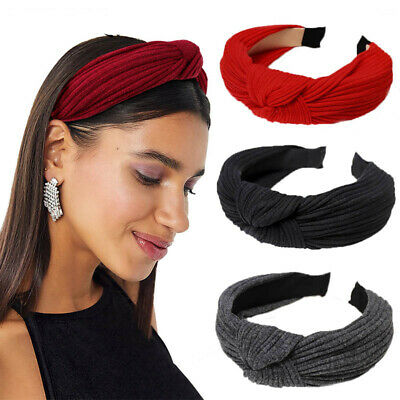Lady's Fabric Twist Headband Hairband Bow Knot Tie Hair Band Hoop Accessories