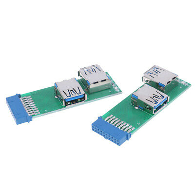 1Pc Internal Mainboard 2 Ports USB 3.0 Female to 20 Pin Female Header Adapter..