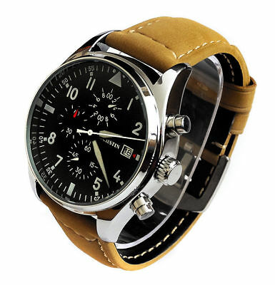 Aviator's Pilot's 43mm CHRONOGRAPH Military Army Air Force Quartz Wrist Watch