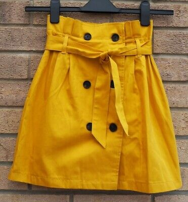 Bershka Yellow All Buttoned Utility Paper Bag Mini A Line Belted Skirt Xs 6