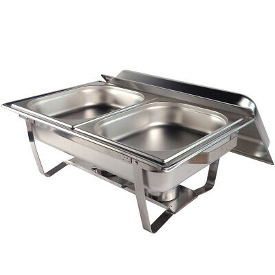 Food Chafing Dish Bain Marie Bow Stainless Steel Buffet Warmer Stackable Set 9L