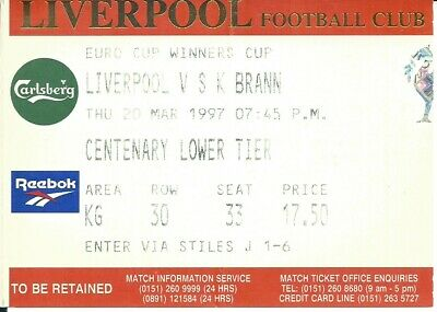 LIVERPOOL v  S.K  BRANN 1996/97 EUROPEAN CUP WINNERS CUP MATCH TICKET - 20/03/97