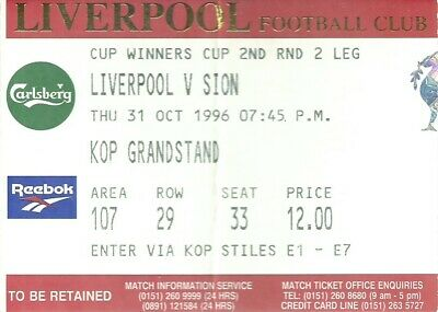 LIVERPOOL v  SION 1996/97 EUROPEAN CUP WINNERS CUP MATCH TICKET - 31/10/1996
