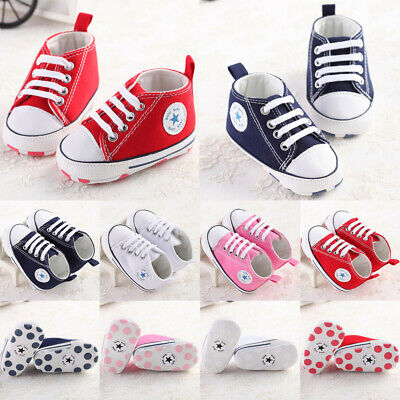 Soft Sole Newborn Baby Boy Girl Pre-Walker White Crib Shoes Sneakers 0-18 Months