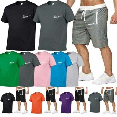 Mens Short Sleeve T Shirts Bottom Sets Cotton Tops Basic Tees Joggers Tracksuit