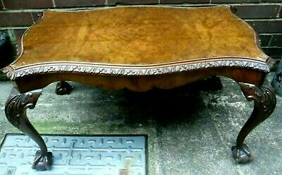 Antique 1920-30's Burr Walnut coffee Table Queen Anne style ~ Ball & Claw Feet