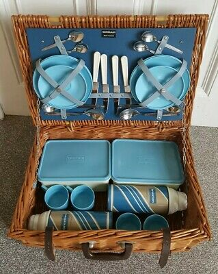 1960's SIRRAM WICKER PICNIC HAMPER