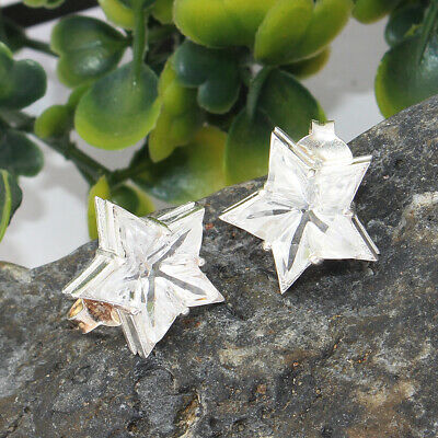 925 Sterling Silver Star Stud Earrings With Crystal Quartz Gemstone Jewelry