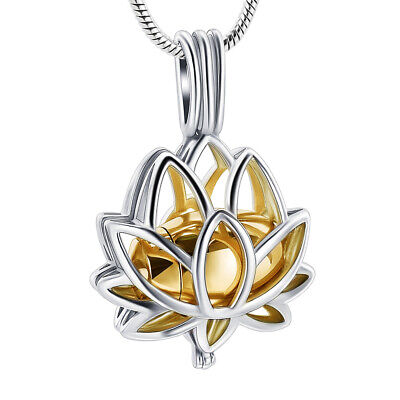 Cremation Jewelry for Ashes Lotus Flower Stainless Steel Keepsake