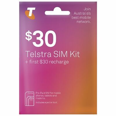 Telstra  $30  Prepaid  Starter Pack Trio Sim Unlimit calls & Txt up