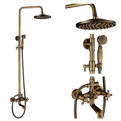 Antique Brass Bathroom Shower Set Faucet 8-inch Rainfall Showerhead with Spray