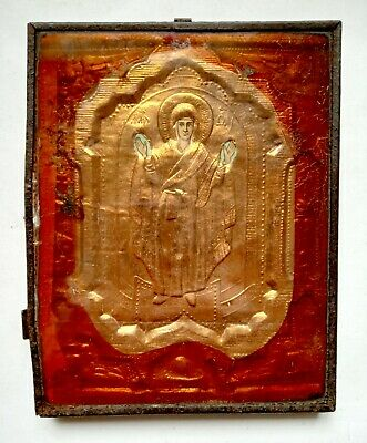 Antique Orthodox Icon of Holy Great Martyr in Frame Russian Empire 19x14cm