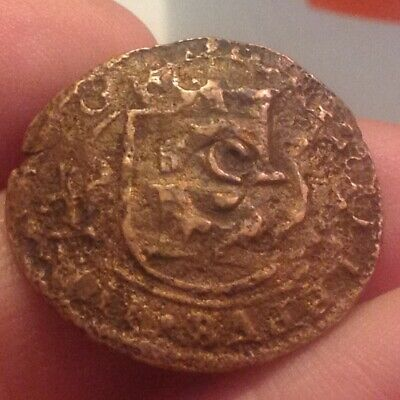 Spain King Philip IV Big Pirate Countermarked Treasure Chest Era Coin 1600's A30