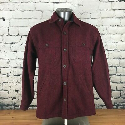 Vintage Woolrich Men's Coat Shirt Jacket Red Wool Blend Red Size Medium