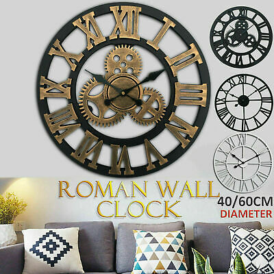 SKELETON WALL CLOCK Roman Numerals Large Big Giant Open Face Round 40 / 60CM