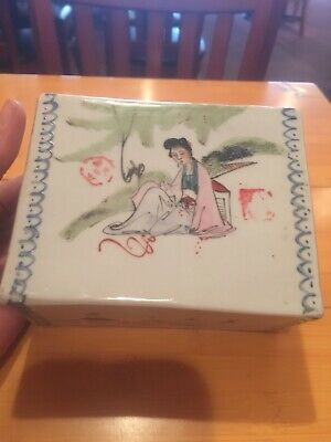 Antique Chinese Porcelain Pillow Block With Export Seals 19 C Or Earlier 20 C