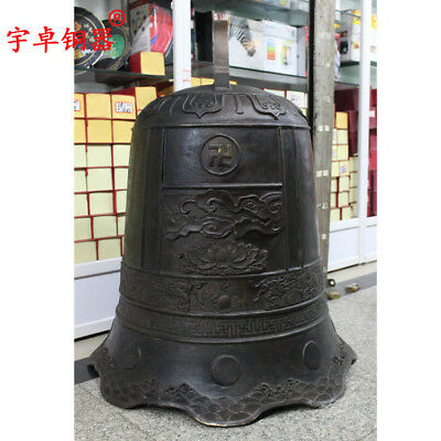 40'' China Temple Big Bell Carve Dragon Lotus Flowers Clouds Bronze Statue