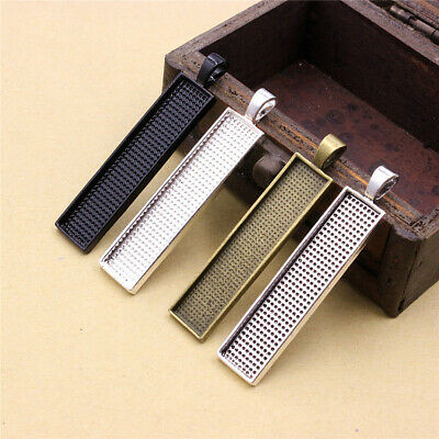 5pc Rectangular Cabochons Pendant Tray Frame bezel Settings For Jewelry Making