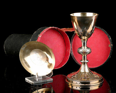 Antique Solid Silver Chalice with Garnets. Case. France, Circa 1880