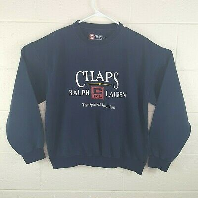 Vintage Ralph Lauren Chaps Men's Big Spell Out Logo Crew Sweatshirt Size Medium