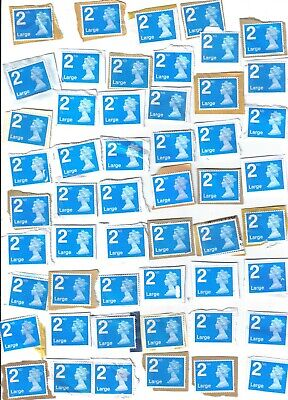 50 2nd CLASS BLUE LARGE UNFRANKED STAMPS ON PAPER WITH FAULTS