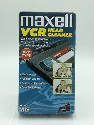 Maxell VCR Head Cleaner Dry Type VP-100 VHS Video Tape Non Abrasive Used