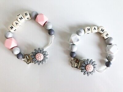 💗💙Personalised Baby Dummy Clip Baby Girl & Baby Boy Wooden Silicone Crochet