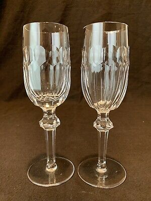 "Waterford Crystal Curraghmore Champagne Flute Pair 8 1/8"" H AS IS Chipped"