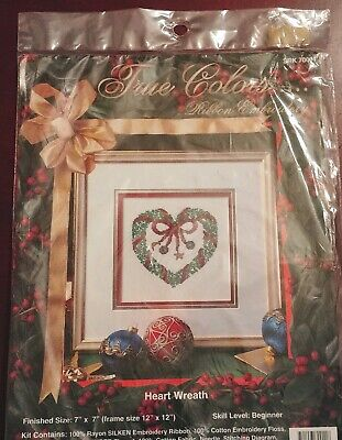 True Colors Ribbon Embroidery Kit HEART WREATH Christmas New Sealed Vtg 70011