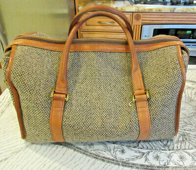 Vtg. HARTMANN LUGGAGE CARRY On TWEED TAN LEATHER Travel Overnight Duffle