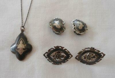 Vintage Siam Sterling Silver Jewelry Lot Necklace Pendant Earrings Clip on Screw