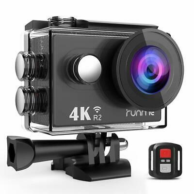 RUNME R2 4K Sports Action Camera, 12MP Wi-Fi Camera 170-Degree Wide-Angle Lens