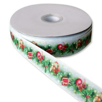 Buddly Crafts 25mm Printed Grosgrain Ribbon - 2m Christmas Bells