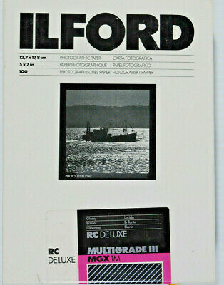 "Ilford Multigrade III RC DeLuxe Paper (Glossy, 5 x 7"", 100 Sheets) Unopened"