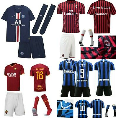 19/20 Football Soccer Kit Kid Youth Team Jersey Short Strips Adult Sports Outfit
