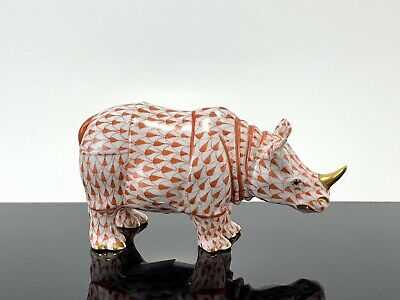 """Herend Rhino RUST Fishnet 5"""" Long Rhinoceros 🦏  Excellent Condition!!"""