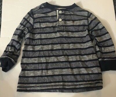 Tommy Hilfiger Toddler Boys 3T Navy Blue & Gray Striped Long Sleeve Shirt EUC